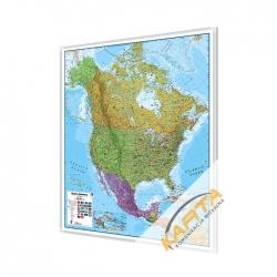 Ameryka Północna polityczna 105x120cm. Mapa w ramie aluminiowej.