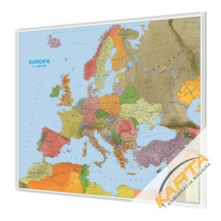 Europa polityczno-drogowa 185x140cm. Mapa w ramie aluminiowej.