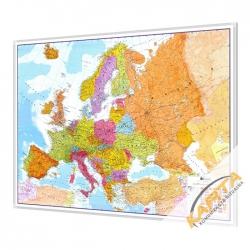 Europa polityczno-drogowa 142x100cm. Mapa w ramie aluminiowej.