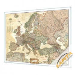 Europa Polityczna exclusive 123x90cm. Mapa w ramie aluminiowej.