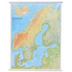 Skandynawia Fizyczno-drogowa 80x102cm. Mapa ścienna.