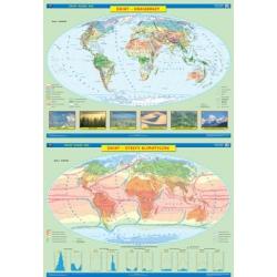 Świat krajobrazy/strefy klimatyczne 160x120cm. Mapa ścienna dwustronna.