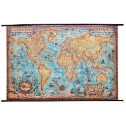 Świat ozdobny antyczny z węzłami 140x94cm. Mapa ścienna.