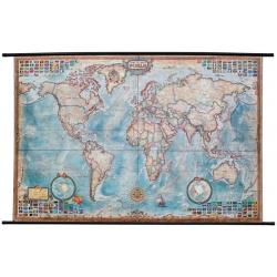 """Świat z flagami - stylizowany """"antyczny"""" 140x94cm. Mapa w ramie aluminiowej."""