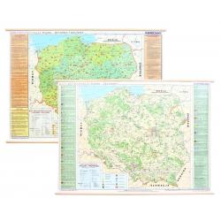 Polska krajoznawcza historia i kultura/przyroda 166x116cm. Mapa ścienna dwustronna.