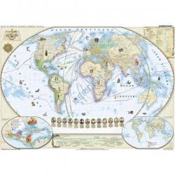 Świat w okresie wielkich odkryć XV-XVI w./Odkrycia geograficzne 150x110cm. Mapa ścienna.
