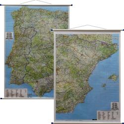 Hiszpania i Portugalia administracyjno-drogowa 98x126cm. Mapa ścienna dwustronna.
