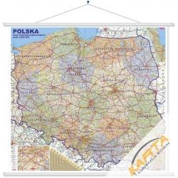 Polska Admnistracyjno-drogowa 144x134cm. Mapa ścienna.