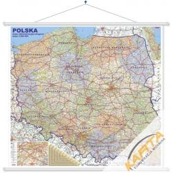 Polska administracyjno-drogowa 205x190cm. Mapa ścienna.