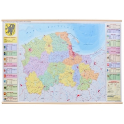 Pomorskie administracyjna 160x120 cm. Mapa ścienna.
