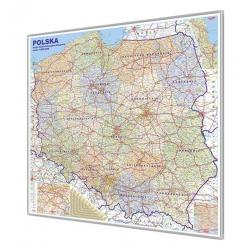 Polska Administracyjno-drogowa 144x134 cm. Mapa w ramie ALU.