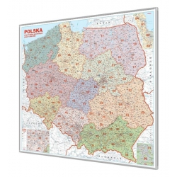 Polska Kodowa 120x110cm. Mapa do wpinania