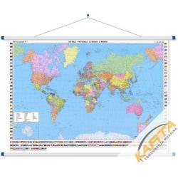 Świat Polityczny z flagami 177x122cm. Mapa ścienna.
