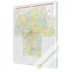 Mazowieckie administracyjno-drogowa 146x174cm. Mapa magnetyczna.