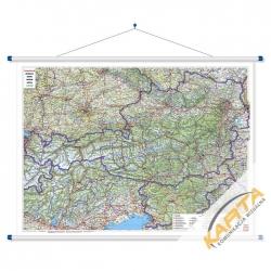 Austria, Słowenia drogowa 120x95 cm. Mapa ścienna.
