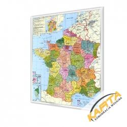 Francja administracyjna z kodami pocztowymi 98x119 cm. Mapa w ramie aluminiowej.