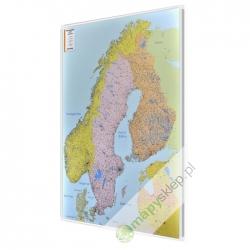 Skandynawia. Szwecja, Norwegia, Finlandia, Dania, Litwa, Łotwa, Estonia kodowa 100x128cm. Mapa magnetyczna.