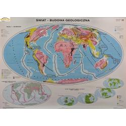 Świat Budowa geologiczna/Wielkie formy ukształtowania powierzchni 160x120cm. Mapa ścienna dwustronna.