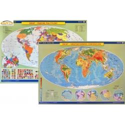 Świat ukształtowanie powierzchni/podział polityczny 160x120cm. Mapa ścienna dwustronna.