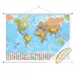 Świat Polityczny z flagami 140x100cm. Mapa ścienna