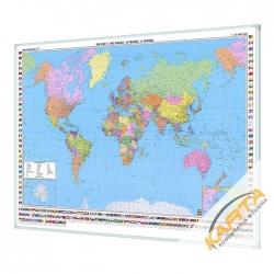 Świat Polityczny 123x87cm. Mapa w ramie aluminiowej.