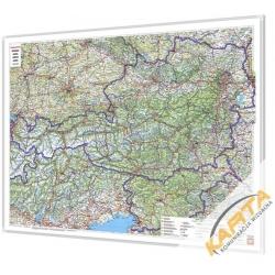 Austria, Słowenia drogowa 120x95cm. Mapa do wpinania.
