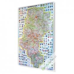 Śląskie administracyjno-drogowa 76x100cm. Mapa magnetyczna.