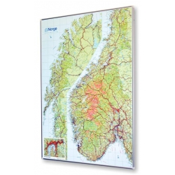 Norwegia drogowo-fizyczna 68x100cm. Mapa do wpinania.