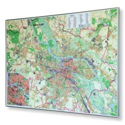 Wrocław 134x92cm. Mapa w ramie aluminiowej.