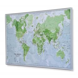 Świat Polityczny świecący 90x60cm. Mapa w ramie aluminiowej.