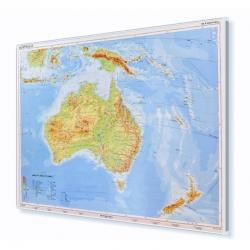 Australia Fizyczna 160x120 cm. Mapa w ramie aluminiowej.