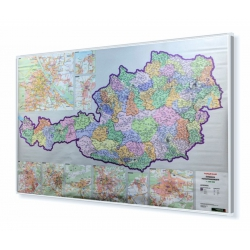MAL Austria Kodowa 1:500 tys. F&B Mapa w ramie ALU 120x90cm