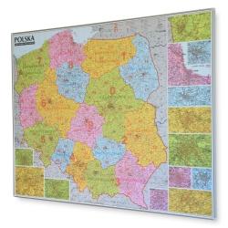 Polska kodowa 126x97 cm. Mapa w ramie aluminiowej.