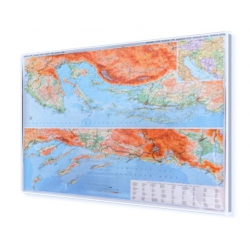 Chorwacja, Dalmacja i Istria 130x90 cm. Mapa w ramie aluminiowej.