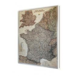 Francja, Belgia, Holandia, Anglia exclusive 64x77 cm. Mapa w ramie aluminiowej.
