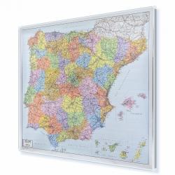 Hiszpania i Portugalia Kodowo-drogowa 110x90 cm. Mapa w ramie aluminiowej.