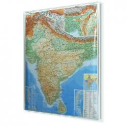 Indie fizyczno-drogowa 94x126 cm. Mapa w ramie aluminiowej.