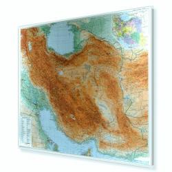 Iran fizyczno-drogowa 100x88 cm. Mapa w ramie aluminowej.