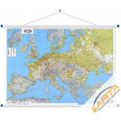 Europa Fizyczno-drogowa 126x90cm. Mapa ścienna.