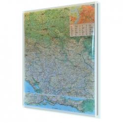 Serbia, Kosowo i Czarogóra Drogowa 81x118 cm. Mapa w ramie aluminiowej.