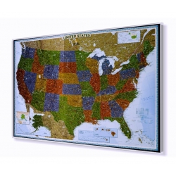 Stany Zjednoczone USA ozdobna 117x78 cm. Mapa w ramie aluminiowej.
