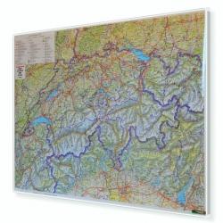 Szwajcaria drogowa 115x84 cm. Mapa w ramie aluminiowej.