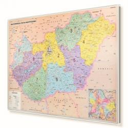 Węgry kodowa 137x98 cm. Mapa w ramie aluminiowej.