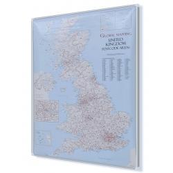 Wielka Brytania kodowa 63x85 cm. Mapa w ramie aluminiowej.