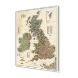 Wielka Brytania i Irlandia exclusive 64x77 cm. Mapa w ramie aluminiowej.