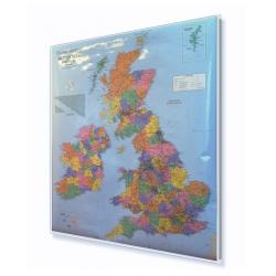 Wyspy Brytyjskie administracyjno-drogowa 96x111 cm. Mapa w ramie aluminiowej.
