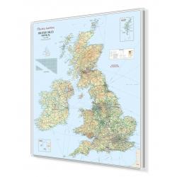 Wyspy Brytyjskie fizyczno-drogowa 100x111 cm. Mapa w ramie aluminiowej.