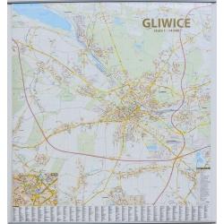 Gliwice - plan miasta 126x138cm. Mapa ścienna.
