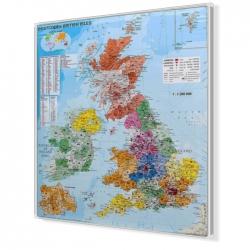 Wyspy Brytyjskie kodowa 100x120 cm. Mapa w ramie aluminiowej.