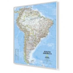 Ameryka Południowa 96x118cm. Mapa w ramie aluminiowej.
